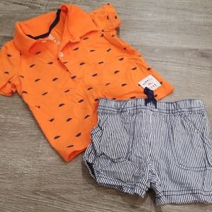 12 month orange and navy polo and shorts set